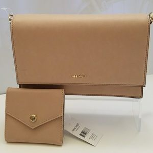 NINE WEST ANDDI CLUTCH & ORIANA WALLET IN CASHMERE